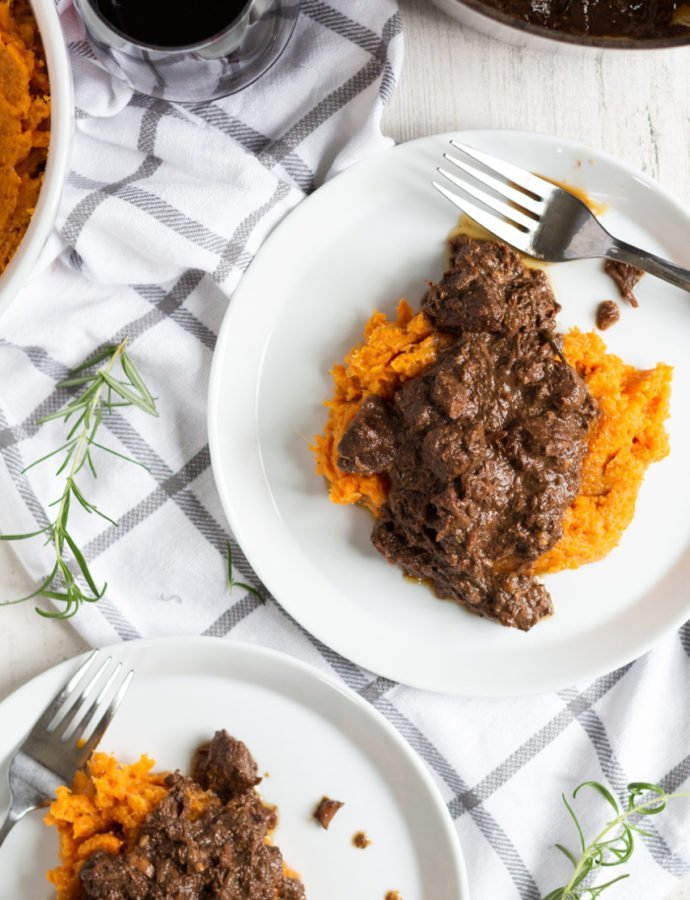Braised Beef with Sweet Potato and Butternut Squash Mash