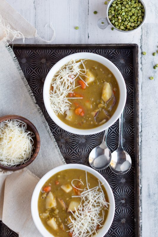 split pea soup overhead