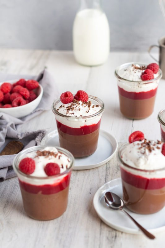 Milk Chocolate Pudding with Raspberry Sauce angled view