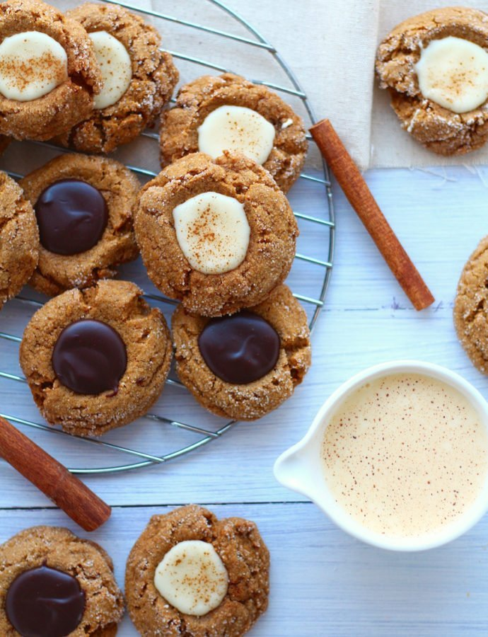 Gingerbread Thumbprint Cookies with Eggnog and Chocolate Filling