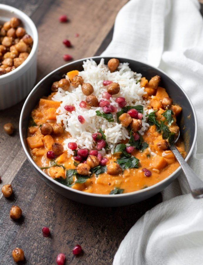 Sweet Potato Lentil Curry with Crispy Sesame Chickpeas