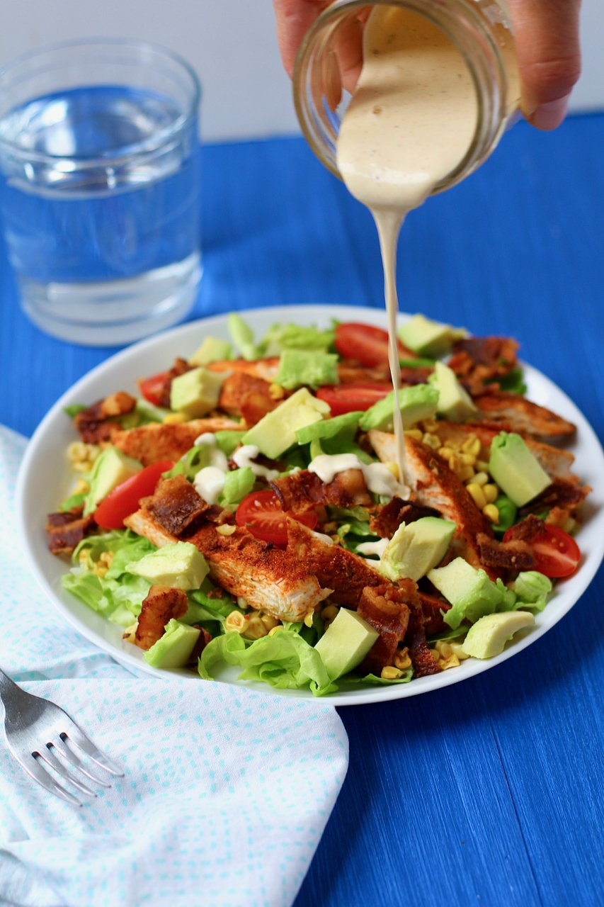 Chicken and Roasted Corn Salad with Bacon and Honey Mustard Ranch Dressing