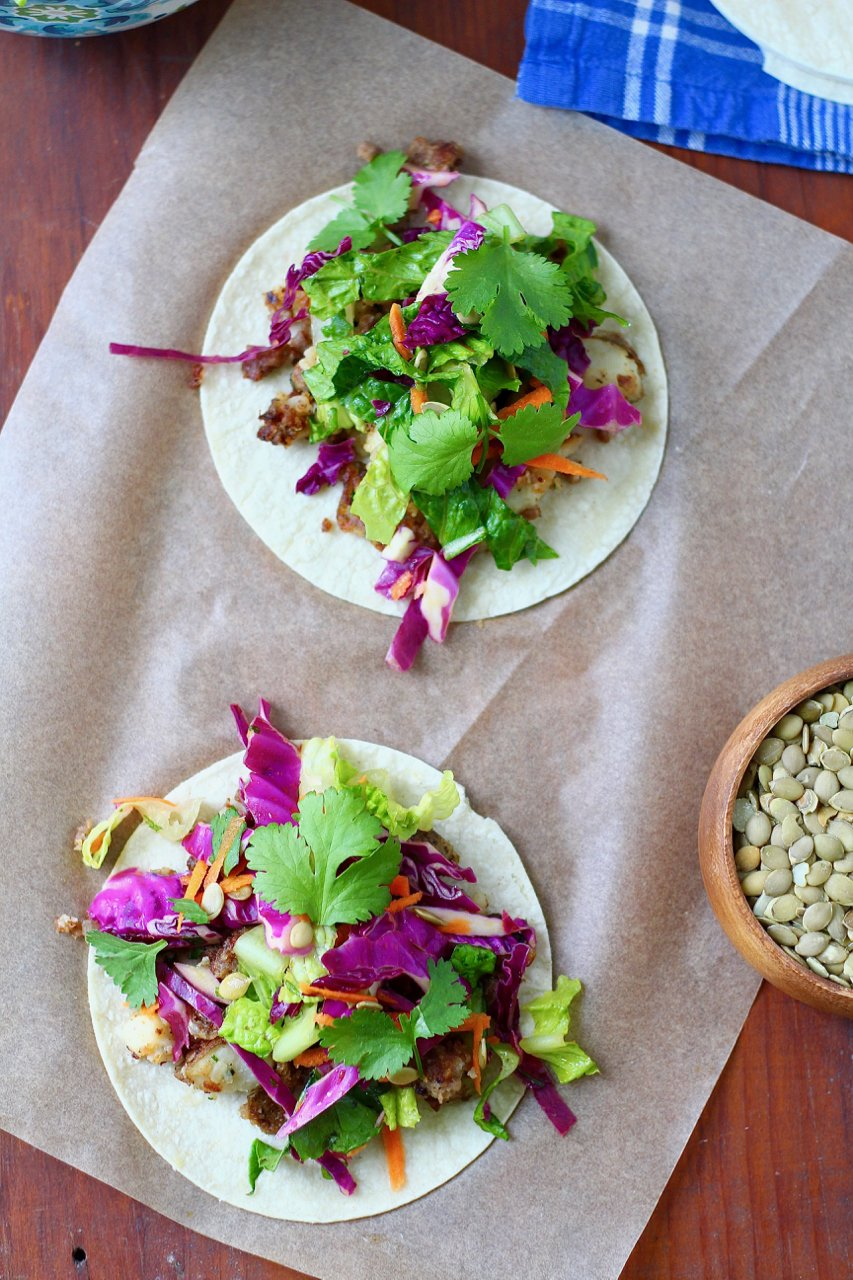 Chorizo and Potato Tacos with Super Crunch Salad