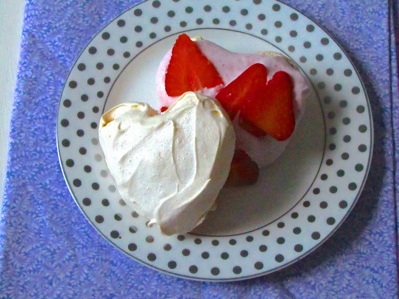 Meringue Hearts with Strawberry Whipped Cream