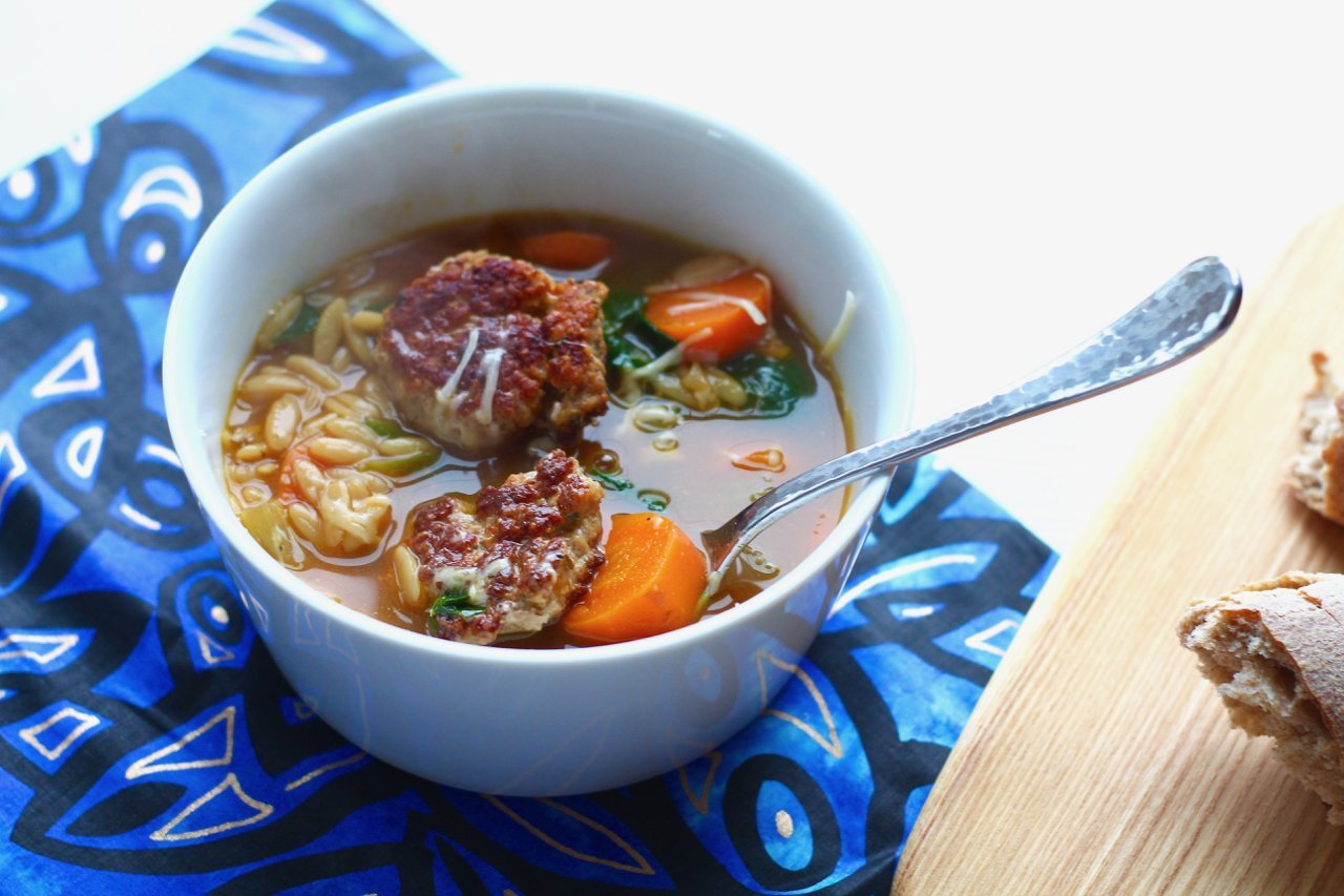 Pork Meatball Soup with Spinach and Orzo