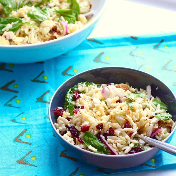 Roasted Cauliflower, Feta and Orzo Salad