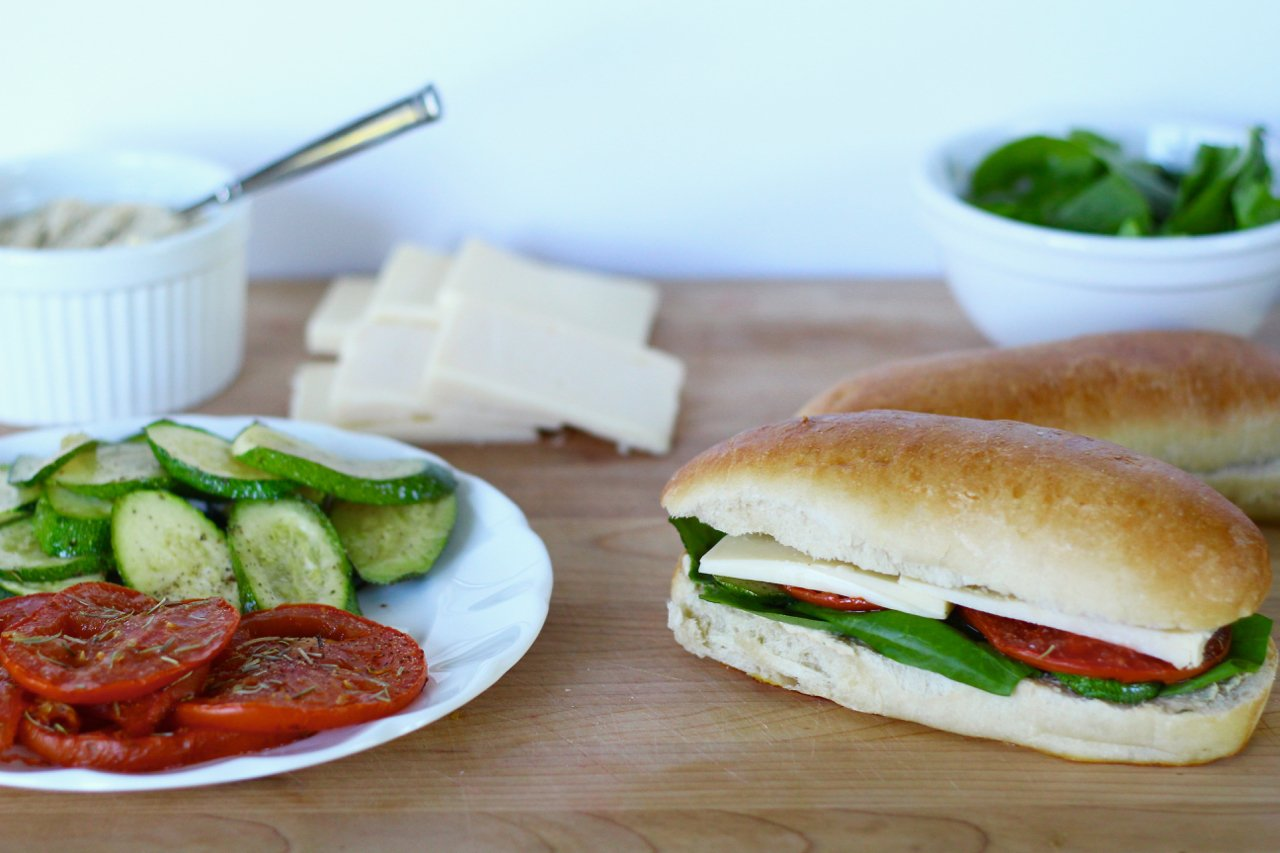 Roasted Zucchini and Tomato Sandwiches