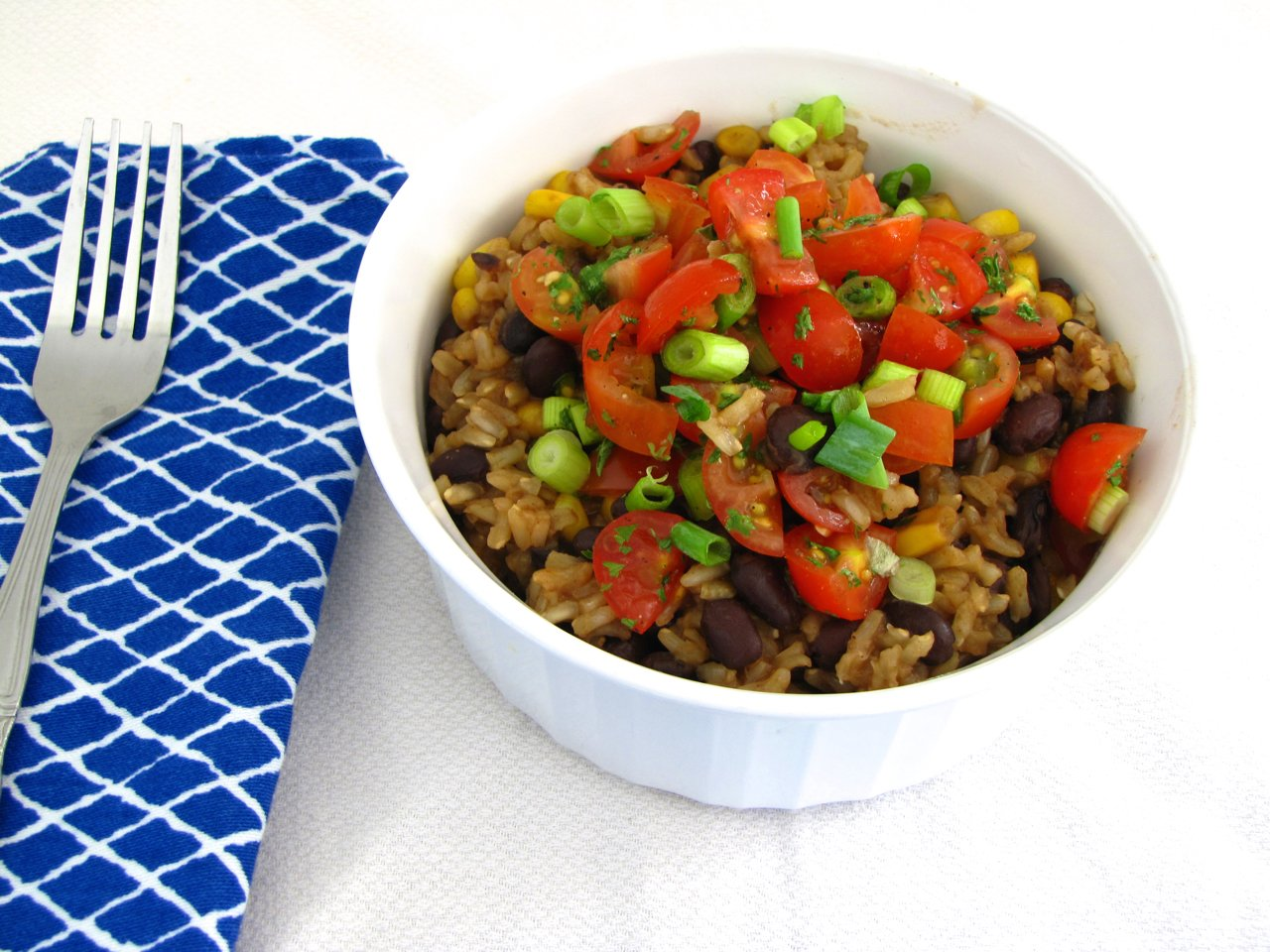 Skillet Rice and Beans with Corn and Fresh Tomatoes