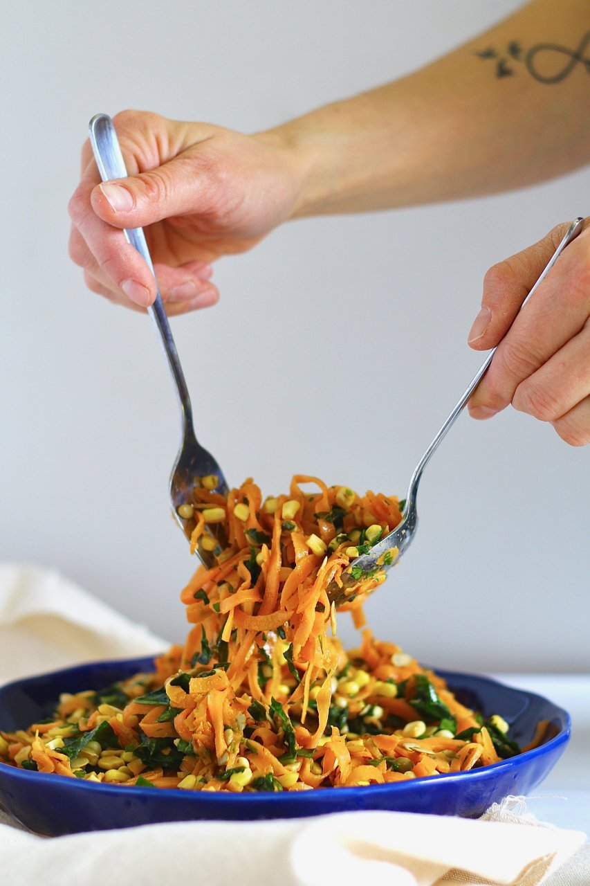Sweet Potato Noodle Salad with Roasted Corn