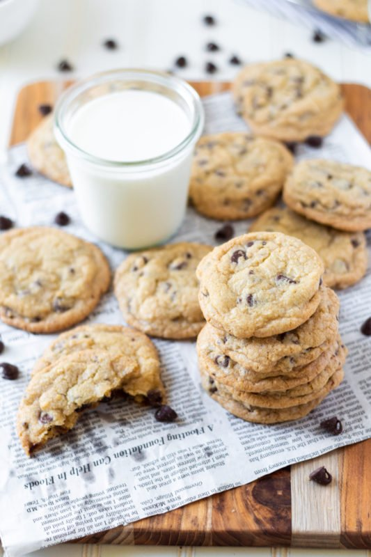 chocolate chip cookies overhead angled stacked