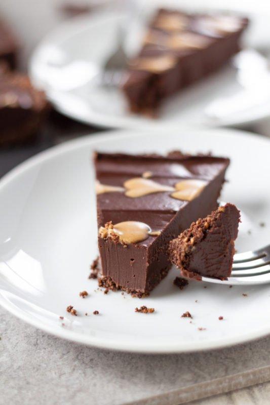 Chocolate Peanut Butter Tart up close piece