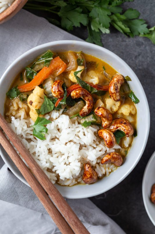 Coconut Vegetable Green Curry overhead with chopsticks