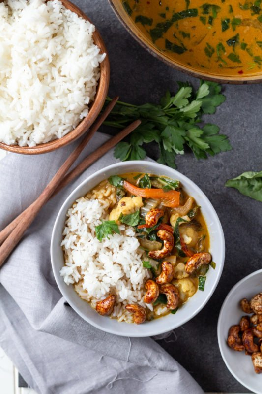 Coconut Vegetable Green Curryoverhead with rice bowl