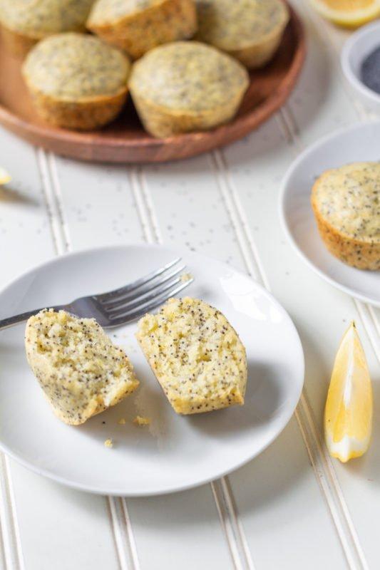 fluffy lemon poppyseed muffins up close