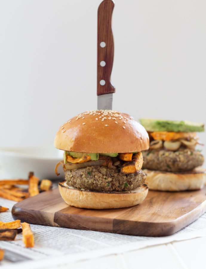 Lentil Quinoa Veggie Burgers with Sweet Potato Fries
