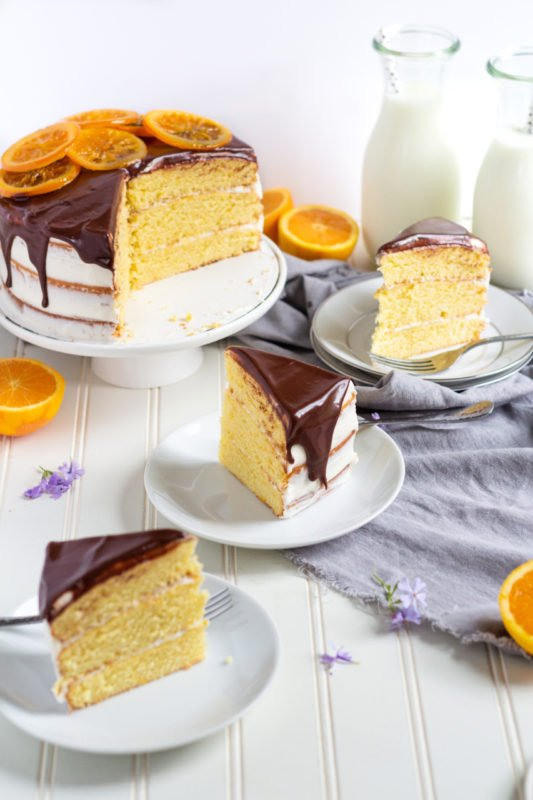 orange layer cake slices