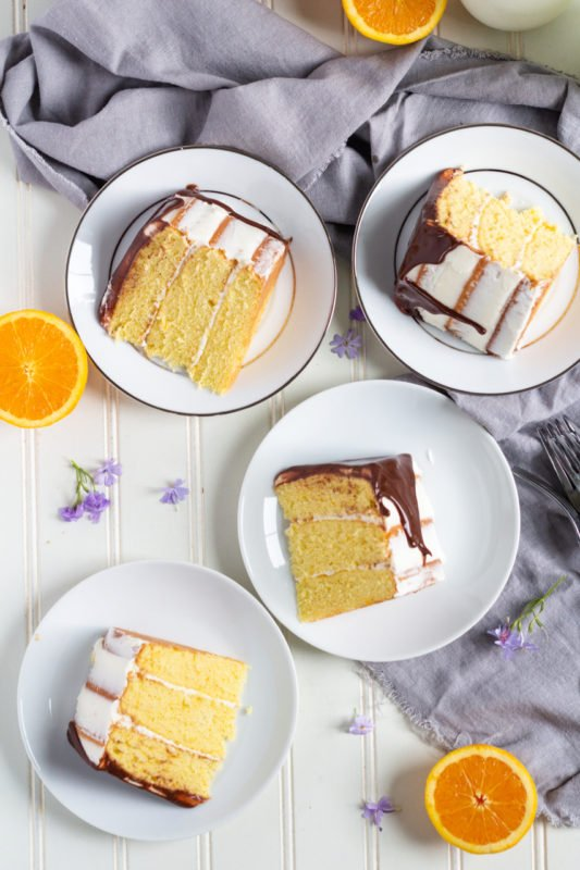 orange layer cake slices overhead