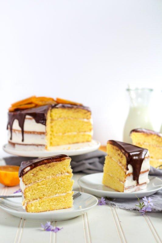 orange layer cake slices up close