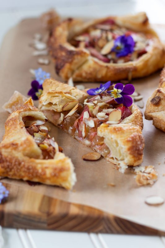 Rhubarb Ginger Almond Galettes up close