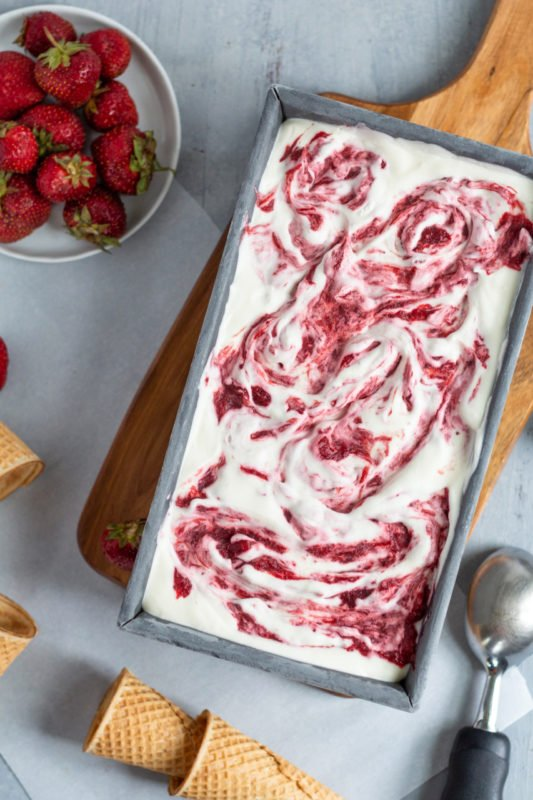 No-Churn Strawberry Rhubarb Ice Cream
