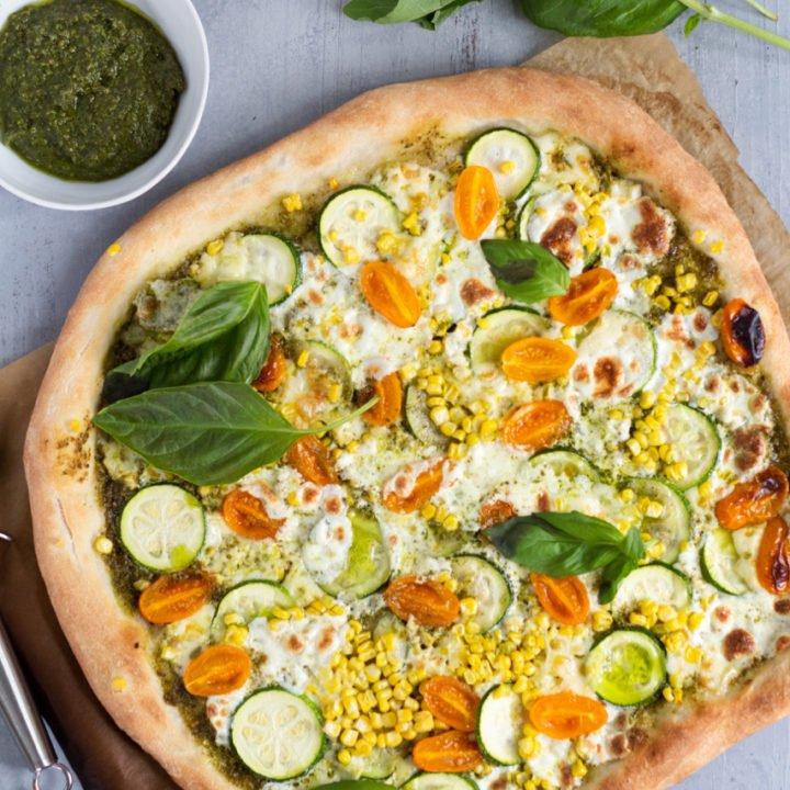 Pesto Veggie Pizza with Brie