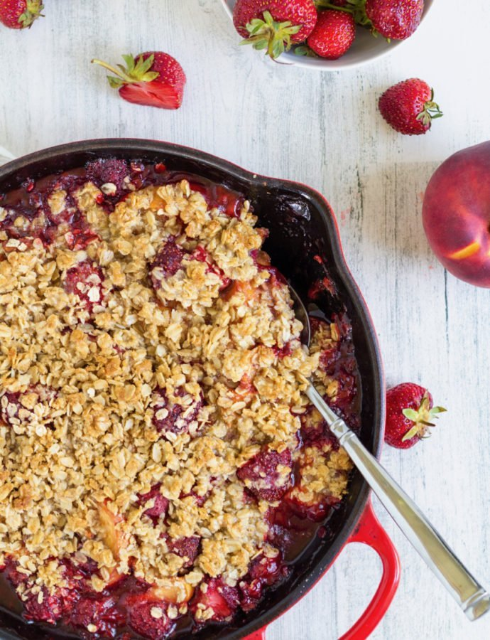 Skillet Strawberry Peach Crisp
