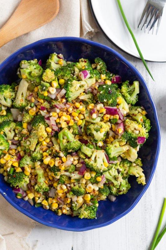 Spicy Sesame Broccoli Corn Salad