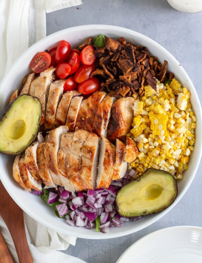 Chicken Bacon Corn Salad with Creamy Garlic Dressing