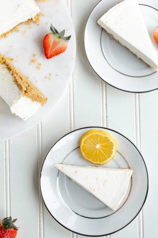 Meyer Lemon Cream Pie overhead closeup