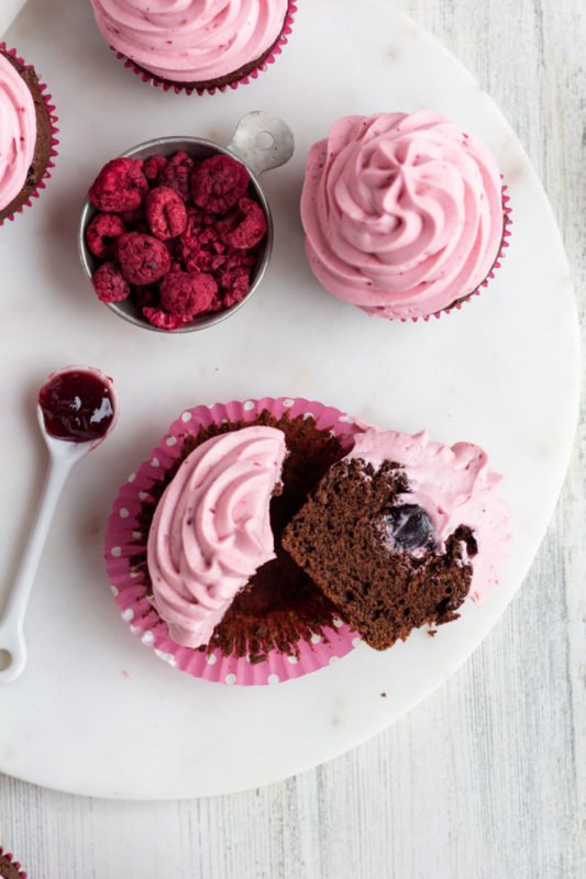 Chocolate Raspberry Cupcakes cut in half
