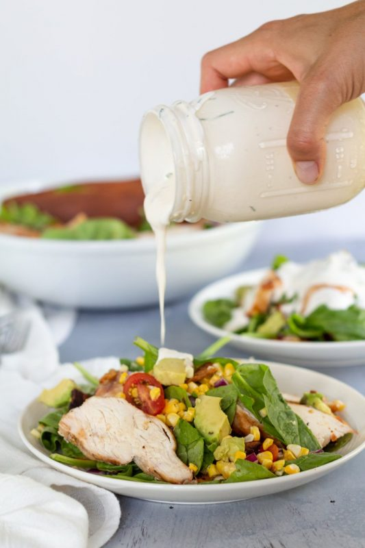 Chicken Bacon Corn Salad with Creamy Garlic Dressing