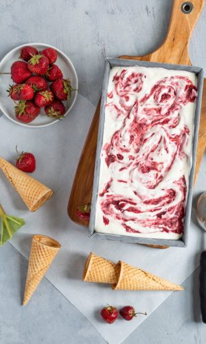 No Churn Strawberry Rhubarb Ice Cream